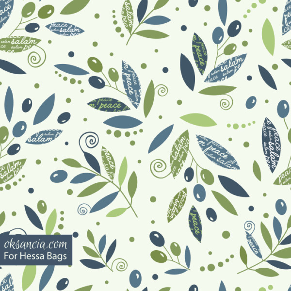 Vector repeating pattern designed by Oksancia with olive branches for customer Hessa Bags