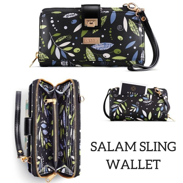 salam sling wallet from Hessa Bags with repeating pattern designed by Oksancia